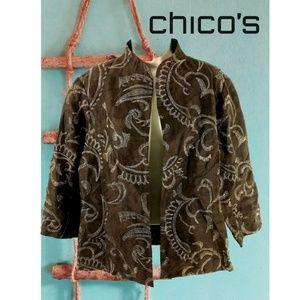 Chico's  Blazer Brown Embroidered Linen Medium